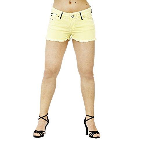 SMILODOX Damen Jeans Short Hotpant Bermuda kurze Hose sommerliche Pastelfarben, Größe:26;Farbe:Hellgelb (Abercrombie Shorts Jean)