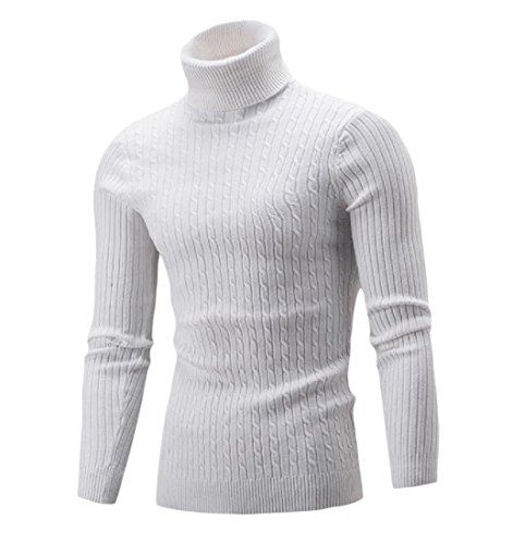 Tootlessly-Men Basic Style Solid Color Turtleneck Pullover Knitwear