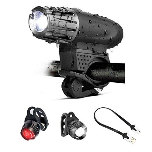 Gusspower USB wiederaufladbare Fahrradlampe Set, Ultra-Bright Frontlicht & 2 Rückleuchten, hohe Kapazität Li-Ionen-Akku, 4 Lichter Modi Wasserdicht, passt alle Fahrräder Radfahren Sicherheit
