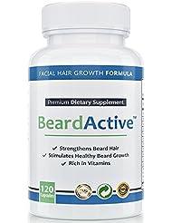 Beard Active™ – Accélérateur de barbe | 120 capsules hautement dosées| Fabriquées en Allemagne| Accélérer, améliorer et stimuler la pousse de la barbe | Pour une pousse belle et épaisse