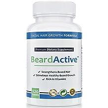 Beard Active™ – Remedio para crecimiento de barba | 120 cápsulas de dosis alta | FABRICADO EN ALEMANIA | Estimular, fomentar y acelerar el crecimiento de la barba | Para un crecimiento de barba denso y hermoso