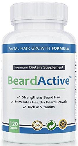 Beard Active - Unterstützt den natürlichen Bartwuchs - MADE IN GERMANY - Für einen gesunden, dichten Bart , 120 Kapseln