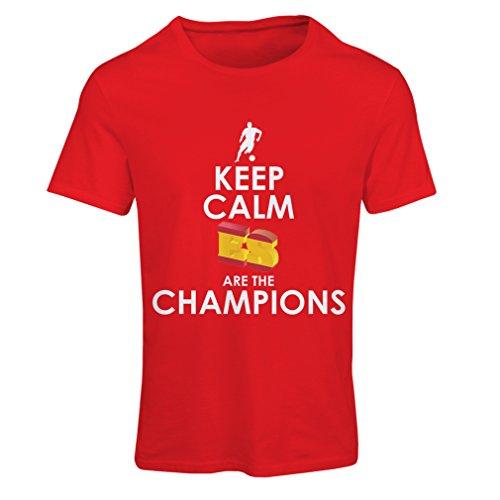 Maglietta donna gli spagnoli sono i campioni, il campionato di russia il 2018, la coppa mondiale - la squadra di calcio di camicia di ammiratore della spagna (small rosso multicolore)