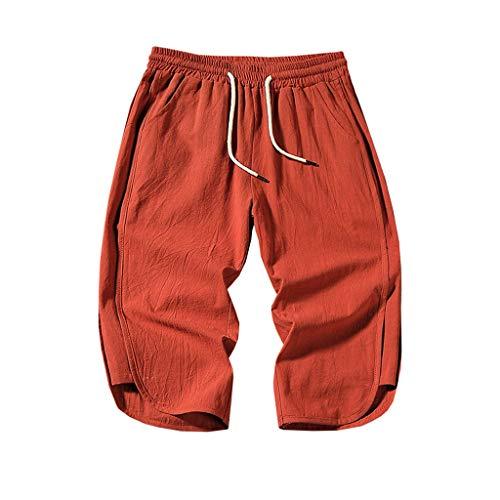 Xmiral Shorts Calf-Length Hose Herren Elastische Taille Mit Kordelzug Einfarbig Strassenmode Badehose Strandhosen Sporthose Lässig Große Größe(Orange,XL) -