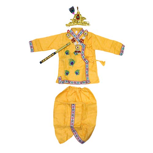 Krishna Costume for boys embroidered | Krishna fancy dress for kids with Jewellary(6 months to 1 year)