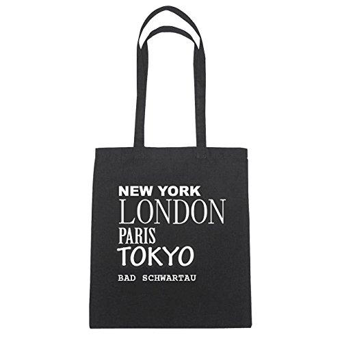 JOllify Bad Schwartau Borsa di cotone b1630 schwarz: New York, London, Paris, Tokyo schwarz: New York, London, Paris, Tokyo
