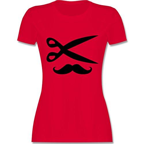 (Handwerk - Hairdresser Moustache - M - Rot - L191 - Damen T-Shirt Rundhals)