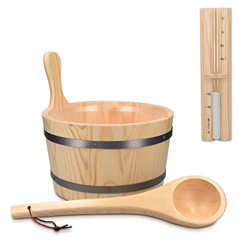 Navaris Saunakübel aus Holz mit Kelle Sanduhr - 5L Sauna Kübel mit Kunststoffeinsatz - Aufgusseimer Set Saunaeimer Ø 27,5 cm - Eimer aus Kiefer