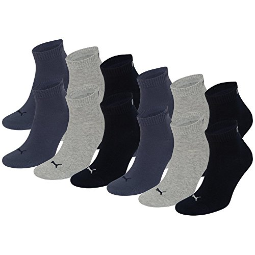 6 Paar PUMA Unisex Quarters Socken Sportsocken (Kurzsocken) (43-46, navy grey blue)