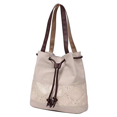 MSZYZ Weihnachtsgeschenke Druck Leinwand Tasche Dame Handtasche Schultertasche Freizeitaktivitäten Einfache Bucket Bag Weiss