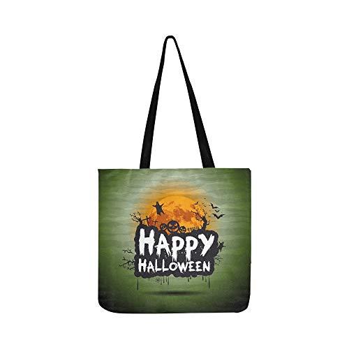 Halloween Nacht Zeichen Leinwand Tote Handtasche Schultertasche Crossbody Taschen Geldbörsen Für Männer Und Frauen Einkaufstasche