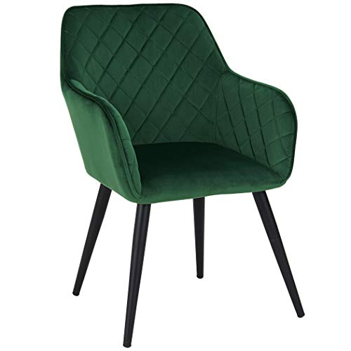 Duhome Esszimmerstuhl aus Stoff (Samt) Grün Farbauswahl Retro Design Armlehnstuhl Stuhl mit Rückenlehne Sessel Metallbeine 8058