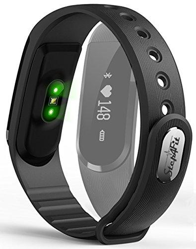 Step4Fit Fitness Tracker mit Herzfrequenz und Musikkontrolle | Fitness Armbanduhr Fitnesstracker | Ultra leicht nur 20g | Deutscher Service und Versand | Fitness Armband