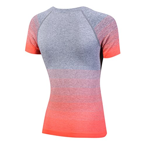 Zhhlinyuan Womens Fitness Short sleeves Quick Dry T-Shirt Gym Sports Shirt Yoga Tops Orange