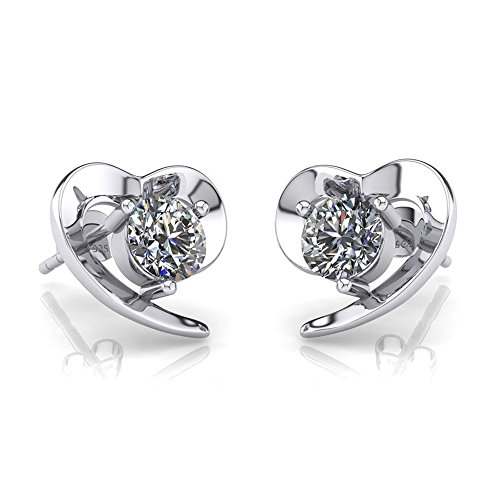 ONECK Earrings Studs for Women Silver Jewellery 5A Cubic Zirconia White Love Heart 925 Sterling Silver Earrings Set with Exquisite Jewellery Gift Box