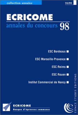 ECRICOME. Annales du concours 1998 par Collectif