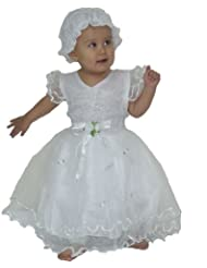 Vestido de bautizo / de la boda / fiesta de Cinda Bebé con Bonneta