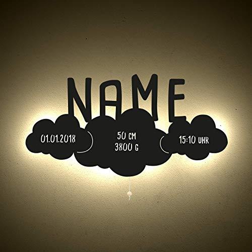 Nachtlicht Wandlampe Stilllicht Winnie das Wölkchen Kinderzimmer-Lampe/Tauf-Geschenk oder zur Geburt/Personalisiert mit Wunsch-Name für Mädchen oder Jungen Babylampe Babyzimmer [Energieklasse A++]