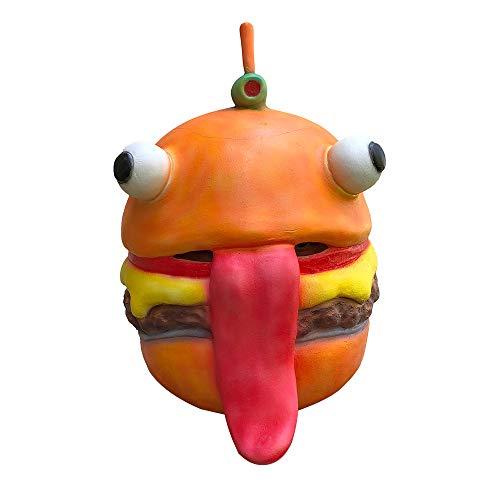 Fulltime Burger Kopf mit großer Zunge großen augapfel Cosplay durr Maske Schmelzen Gesicht Latex kostüm Halloween Scary Maske Spielzeug (As Shown) (Burger Kostüm Für Erwachsene)