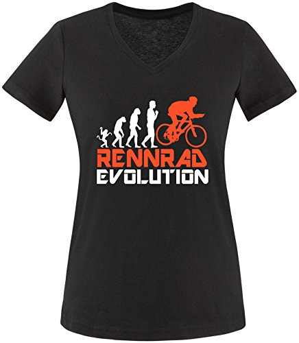 EZYshirt® Rennrad Evolution Damen V-Neck T-Shirt Schwarz/Weiss/Orange