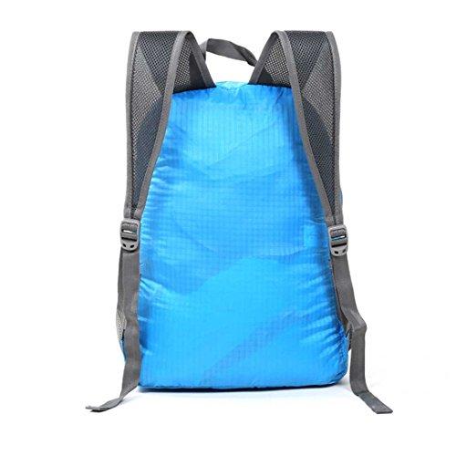 Hewolf 20L Ultra Leicht verstaubarer Rucksack Wandern Camping Outdoor Travel Radfahren Tagesrucksack wasserabweisend Faltbare Tasche blau