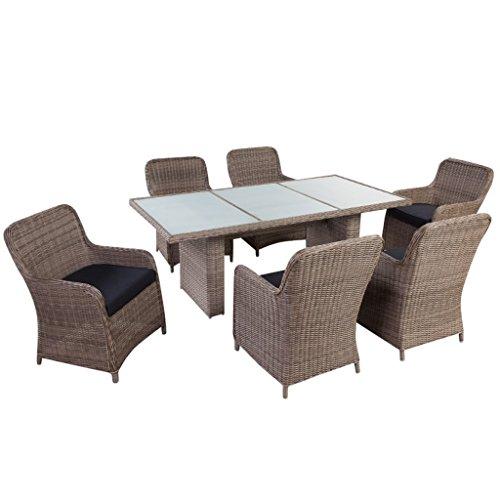 Essgruppe Mit 1 Gartentisch + 6 Gartenstühle Poly Rattan Gartenmöbel Set Garten  Rattan Garnitur Mit 6 Sitzpolster