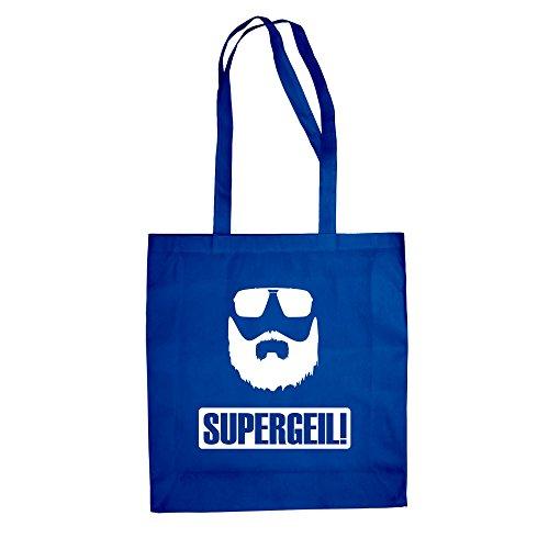 Baumwolltasche Jutebeutel Supergeil Bart Fun Einkaufstasche royalblau-weiss