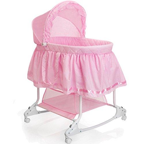 Babywiege / Stubenwagen mit Schaukelfunktion (Abnehmbarer Babykorb) (Pink)