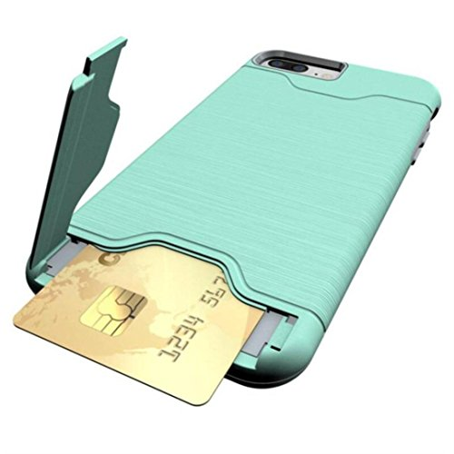 Ouneed® Für iPhone 8 plus 5.5 Zoll Hülle , stoßfest Wallet Case Protective Hard Cover Skin Card Holder Stand für iPhone 8 plus 5.5 Zoll (Schwarz) Minzgrün