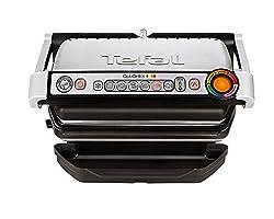 Tefal OptiGrill+ GC712D Kontaktgrill (Plus-Modell mit zusätzlichen Temperaturstufen, 2.000 W, automatische Anzeige des Garzustands, 6 voreingestellte Grillprogramme) schwarz/silber (Generalüberholt)