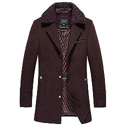 Men's Tops, Autumn Winter Jacket, Male Winter Medium Length Woollen Jacket Thickened Single Breasted Detached Coat(Wine, L)