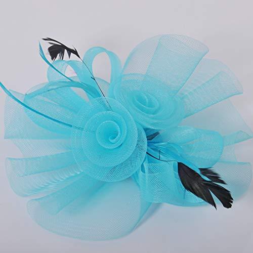 (Kitzen Frauen Mädchen Fascinators Hair Clip Stirnband Feder Blume Schleier Hochzeit Headwear Braut Kopfschmuck,Blue)