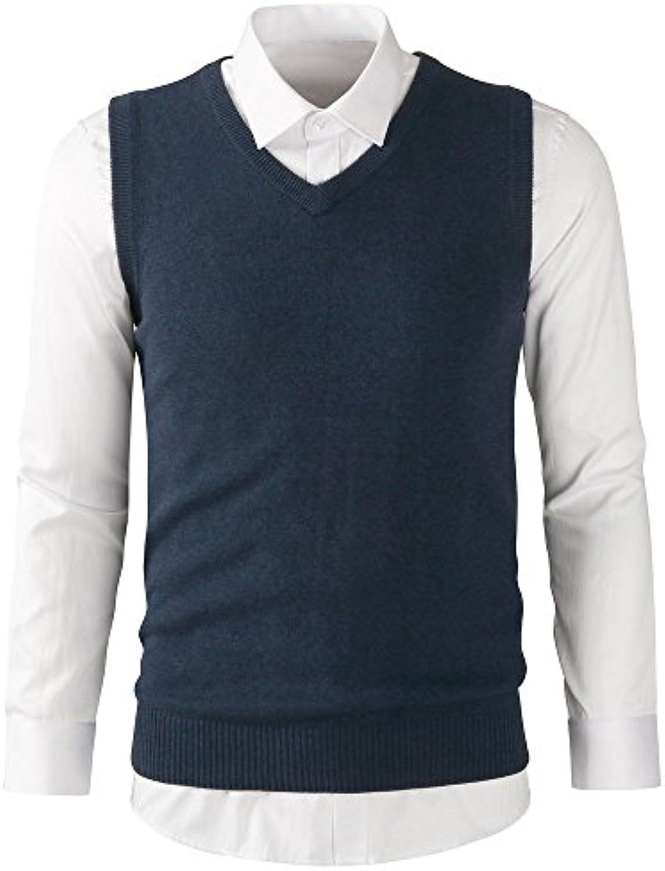 WL-Sweater Autunno e Inverno Uomo Giubbotto di Felpa Scollo Scollo Scollo a v di snellimento Giubbotti di Maglia Senza Maniche... 666657