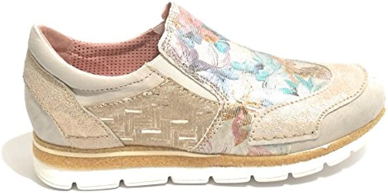 Clocharme Zapatillas de Piel Para Mujer Stampa Floreale/Crack Gold/Nappa Grigio