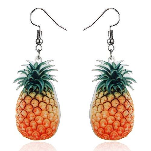 TIFIY Ohrringe 2019 Trend Obst Erdbeere Ananas Tropfen Baumeln Haken Ohrringe Frauen Schmuck Geschenk EinfachGroße Ohrstecker (Ananas Farbe)