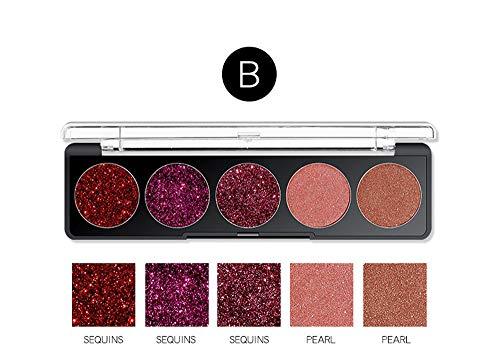 Quaan 5 Farben Glänzend Auge Schatten Schimmern Pulver Palette Kosmetik Bilden Schönheit