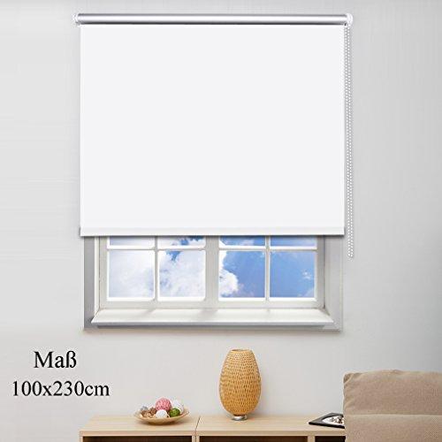 SHINY HOME® Estores enrollables Opacos Noche y Día para ventana y salon(poliéster de 100x230cm), color blanco
