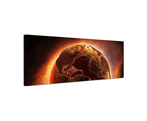 Wandbild auf Leinwand als Panorama in 120x40cm Planet Erde Feuer Desaster