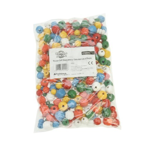 Creation Station 6 - 15 mm 200 g Wooden Craft Beads in Assorted Colours and Shapes  Pack of 650