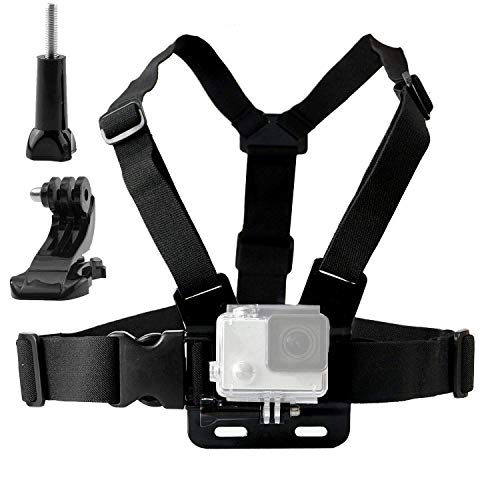 Techlife Adjustable Chest Harness Mount J Hook Mount - Chest Strap Holder Compatible with All GoPro, Xiaomi Yi, SJcam and All Other Action Cameras