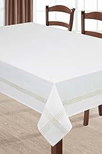 85x85 cm weiß gold gelb creme Tischdecke Tischtuch ornamente Form pflegeleicht elegant praktisch exklusiv Baumwolle-ähnlich glänzendes Muster Gold3