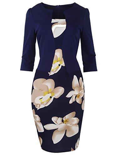MisShow Robe Femme Chic Elégante pour Mariage Soirée Vintage année 1950s Moulante Fourreau Imprimée à Fleurs Bleu Marine XL