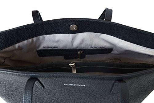 BORGENNI capiente morbida borsa shopper da donna borsa in vera pelle con due manici piatti, scomparto centrale con zip e chiusura a calamite Made in Italy Nero
