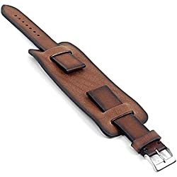 DASSARI Gauntlet Vintage Italian Leather Cuff Watch Strap in Brown 18mm