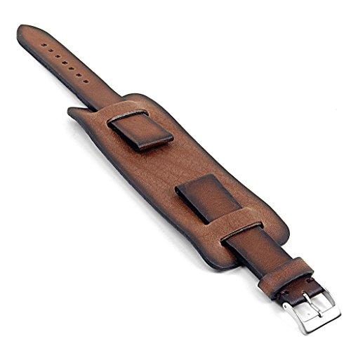 d für zeigt Stil Manschettenknöpfe Italienisches Leder, Vintage Braun Größe 22mm (22 Mm Manschette Uhr Band)