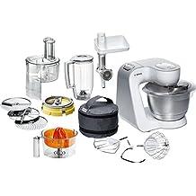 Bosch MUM54251 - Robot de cocina con cuenco de mezclar de acero y accesorios, 900 W, capacidad de 3,9 l, color blanco y plata