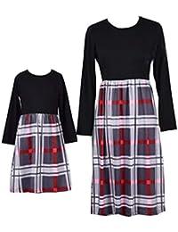 WangsCanis Vêtements Famille Assorti Mère et Fille Robe Carreaux Robe pour  Femme ... 1e129d3062c