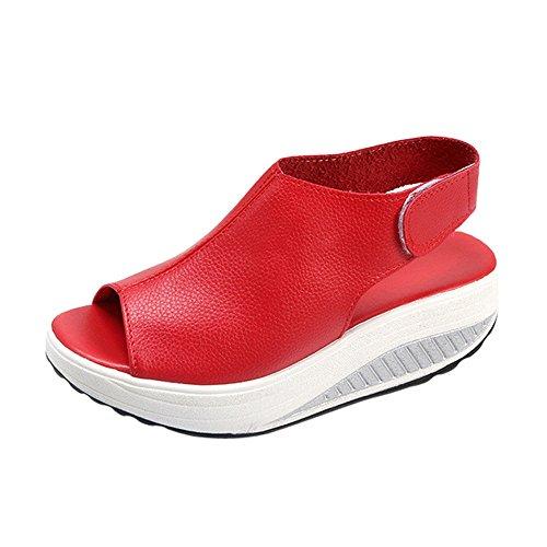 Femmes Sandales Compensees en Simili Cuir Mode Pas Cher Casual Sexy Talon éPais Ete Chaussure Sandales