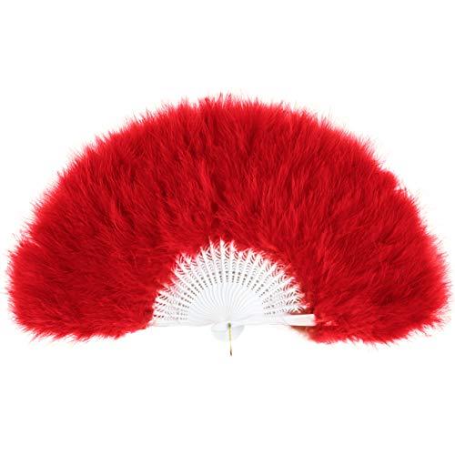 ArtiDeco Damen Fächer Marabou Feder 1920s Vintage Stil Retro Handfächer Damen Gatsby Kostüm Flapper Zubehör (Rot)