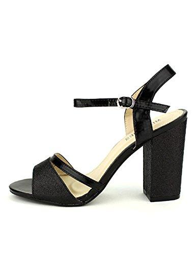 Cendriyon, Sandales Noires pailletées ML Shoes Chaussures Femme